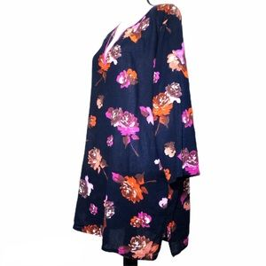 Floral Gauzy Cotton 3/4Sleeve Tissue Tunic CoverUp
